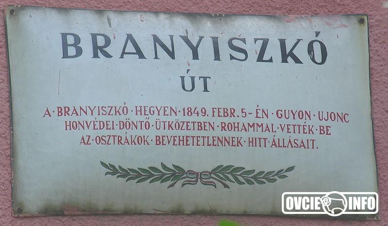 Pamätná tabuľa na ulici Branisko v Budapešti